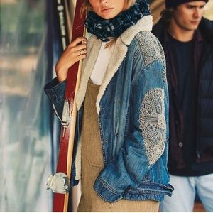Free People denim sherpa fleece embroidered jacket